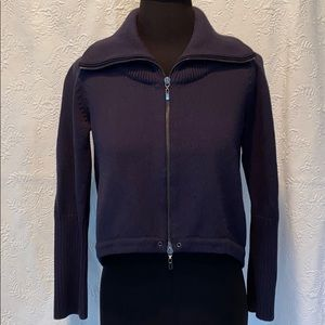 Theory Navy Cotton Zip Sweater Size Small